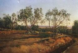 Оливы у кладбища в Альбано. Молодой месяц (А.А. Иванов, около 1843—1845 гг.)