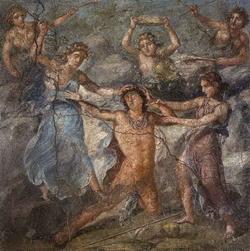 Фреска на центральной стене экседры дома Веттиев в Помпеях