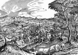 Гравюра Г. Кока с рисунка И. Брейгеля-Старшего Plaustrum belgicum