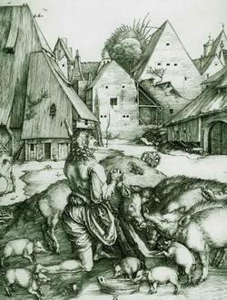 Блудный сын (Альбрехт Дюрер, приблизительно 1495 г.)